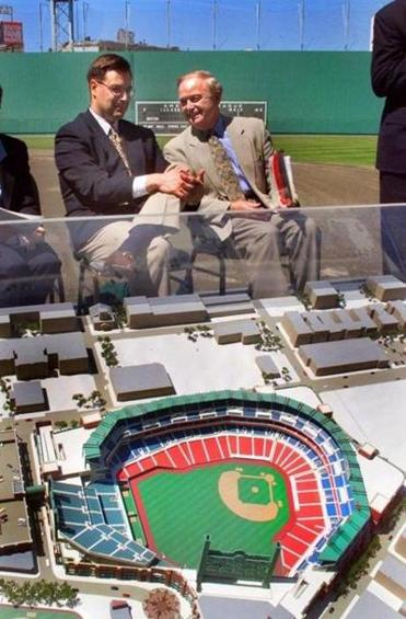 Red Sox GM Dan Duquette, left, and CEO John Harrington unveiled plans for a new Fenway Park.