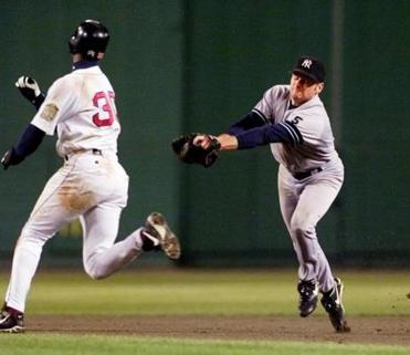 Yankees second baseman Chuck Knoblauch applied a phantom tag on Jose Offerman, who was called out on the eighth-inning play.