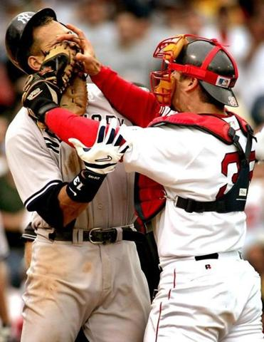Varitek's shove of Alex Rodriguex helped turn the 2004 season around.