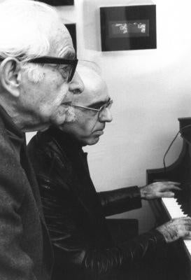 The late Lazar Weiner at the piano while his son, composer and pianist Yehudi Wyner, plays.