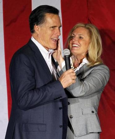 Mitt and Ann Romney appeared at a campaign rally in Ohio on Monday.