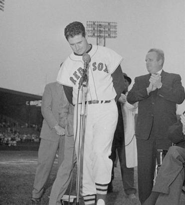 Ted Williams spoke to the fans at Fenway Park on the day he played his final game.