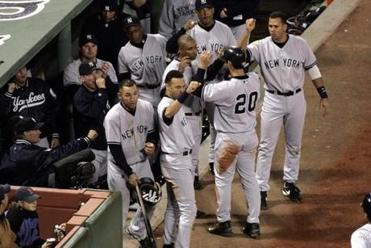 The Yankees emerged from their bench with congratulations for a run scored 19 times.