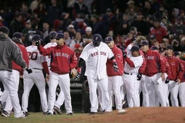 The Red Sox celebrated after winning the first game of the series.