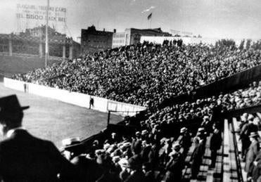Fans were packed into the outfield bleachers for this game in 1912.