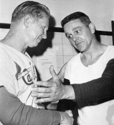 Red Sox manager Dick Williams, right, congratulated Cardinals manager Red Schoendienst after the game.