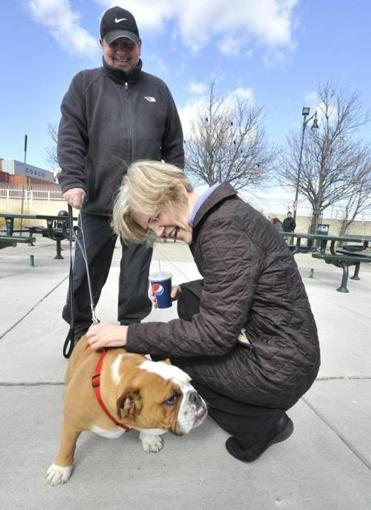 Elizabeth Warren greeted Ralph Mazzeo and his dog, Mazy, on Castle Island.