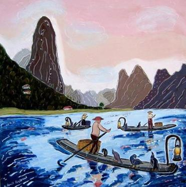 "A detail of ""Fishing on the Blue Li River"" by Nan Hass Feldman."
