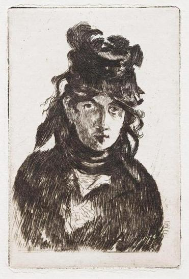 An etching of Berthe Morisot by Édouard Manet made in 1872.