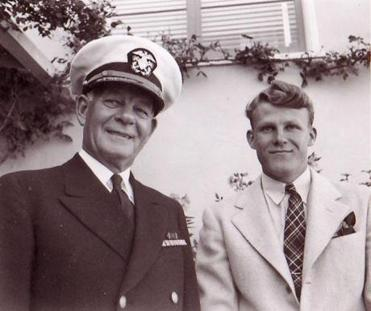 The 1945 photo shows Titanic survivor William Henry Turnquistwith his son,WilliamHarvey Turnquist, now 86.