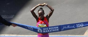 Sharon Cherop crossed the finish line just two seconds ahead of runner-up Jemima Jelagat Sumgong.