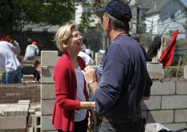 Elizabeth Warren met with Mark Stemple while taking a tour of the Bricklayers & Allied Craftsmen Apprentice Tranning Ceter in Dorchester today.
