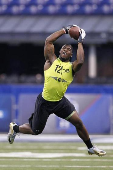 Alfonzo Dennard of Nebraska in action at the NFL Combine on Feb. 28, 2012.