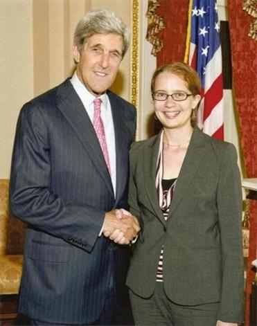 Marblehead's Kelsey Utne (right), shown with US Senator John Kerry, will put her politics into action as she graduates from Salem State University.