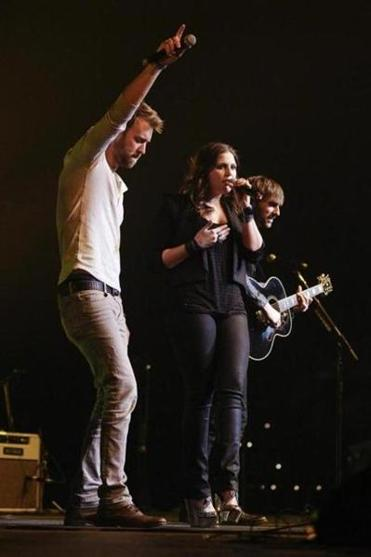 Lady Antebellum's Hillary Scott, Charles Kelley (left), and Dave Haywood (shown last month in Nashville) brought catchy tunes to the DCU Center Saturday.
