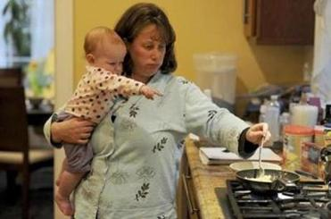 Battling her 5-year-old over dinner options is a strain, says Debbi Siegel, with 11-month-old Sophie, in Newton.