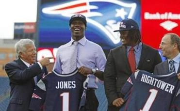 Chandler Jones, second from left, was one of two Patriots first-round picks, with Dont'a Hightower.