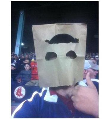 Jon O'Hara wore this bag on his head at Thursday's Red Sox loss to the Indians.