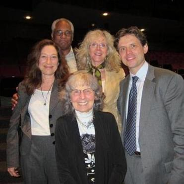 From left: Meg Gibson, Gus Johnson, Bronia Wheeler (foreground), Blythe Danner, and Lewis Wheeler at the post-memorial reception.