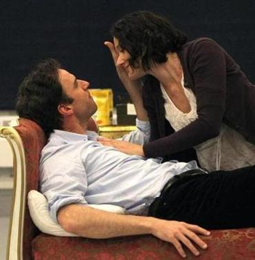 James Waterston and Bianca Amato rehearse the play in Boston.