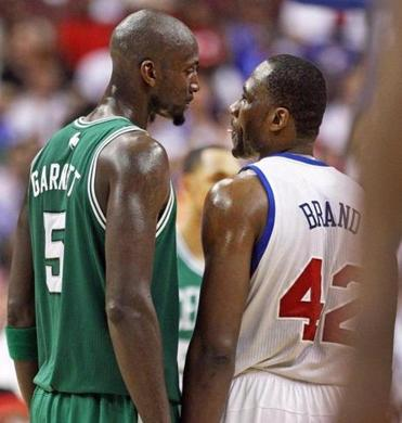 5-18-12: Philadelphia, PA: Things got a little testy between the Celtics Kevin Garnett (left) and the 76ers Elton Brand (right) in the fourth quarter, as they had a stare down for a few moments, but before anything could happen Garnett headed for the bench after being removed for a substitute. The Boston Celtics visited the Philadelphia 76ers for Game Four of the NBA Eastern Conference Semi-Finals playoffs at the Wells Fargo Center. (Globe Staff Photo/Jim Davis) section: sports topic: Celtics-Sixers