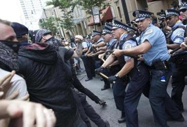Police clashed with protesters during the protest march.