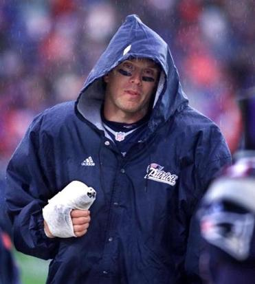 Drew Bledsoe spent much of the game on the sideline with an injured thumb.