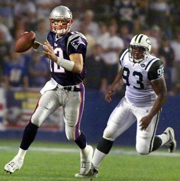 Tom Brady stepped in as the Patriots quarterback after Drew Bledsoe was hurt.