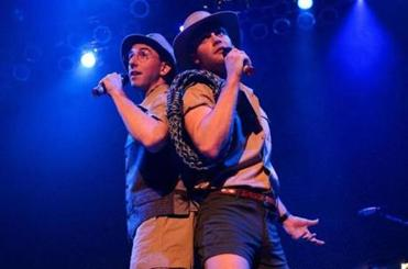 Brian Rosenthal and Joe Walker performing on the tour's opening night in Chicago.