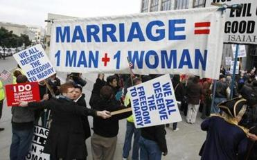 Demonstrators for and against same-sex marriage protested at a federal courthouse in San Francisco in January 2010 - with a focus on the meaning of the word.