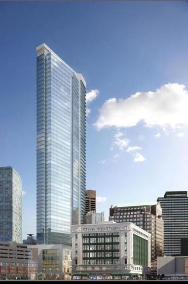A 625-foot skyscraper at the site of the former Filene's building will house more than 500 luxury condominiums.