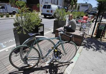 One of 30 parklets in San Francisco, where the concept began.