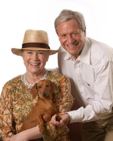 Actress-director Liv Ullmann with her husband, Donald Saunders, and their rescue dog, Chelsea. The dachshund was left at the MSPCA sick and with a crooked leg.