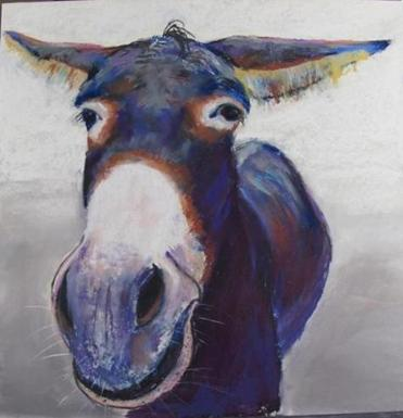"Nancy Whitin's pastel and acrylic portrait of a donkey is among the animal depictions on display in ""Our Shared Planet"" at the Lexington Arts and Crafts Society."