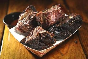 01/14/2012 CHELSEA, MA Burnt Ends brisket tips (cq) at Larry J's House of Q (cq) in Chelsea. (Aram Boghosian for The Boston Globe) Library Tag 01182012