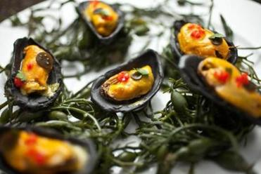 Mussels with saffron in squid ink pasta shells prepared by Alex Crabb at his home in Cambridge. The dish was inspired by his stage in Copenhagen at a restaurant called Noma.