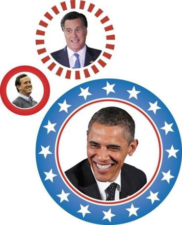 Santorum (left), Romney (top) and Obama invoke different visions of religious America.
