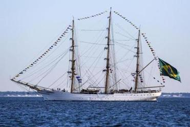 06/30/2012 BOSTON, MA Cisne Branco (cq), a tall ship of the Brazilian Navy (cq), in Boston Harbor (cq) during OpSail's (cq) Tall Ship arrival event. (Aram Boghosian for The Boston Globe)