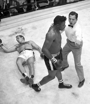 The boxing exploits of Floyd Patterson (left, in 1956, and right, after knocking out Ingemar Johansson to reclaim the heavyweight title in 1960) are the highlights of W.K. Stratton's book.