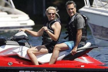 Republican presidential candidate, former Massachusetts Gov. Mitt Romney and wife Ann Romney jet ski on Lake Winnipesaukee