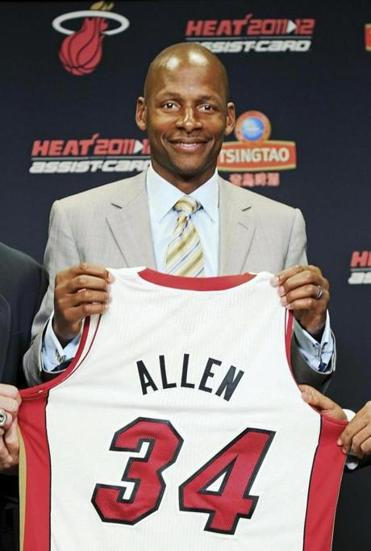 Ray Allen officially bid farewell to the Celtics, joining the Miami Heat.