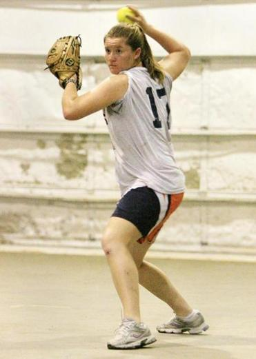 Madi Shaw comes up throwing during the indoor session at the club's Taunton facility.