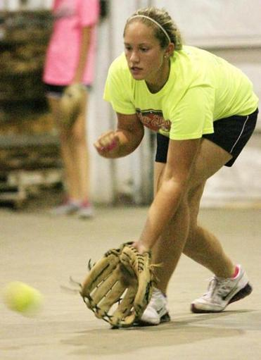 Emily Kurkul fields a grounder during a recent Mass Drifters practice in Taunton.
