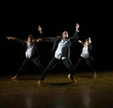 "Christopher Bordenave, Nigel Campbell, and Eduardo Zuiga of Luna Negra Dance Theater in ""Bate."""
