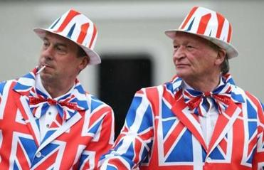 These fans came decked out in the colors of the British flag.