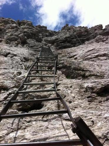 "Ladders scale the Dolomites on the via ferrata, the ""iron way"" up and around the mountain range in northern Italy."