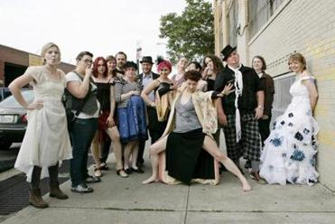 Musician and artist Amanda Palmer with a group of her fans.