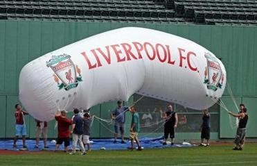 Members of Liverpool FC worked out at Fenway Park on Tuesday in advance of their match with AC Roma on Wednesday night.