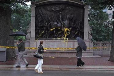 The Robert Gould Shaw and Massachusetts 54th Regiment Memorial at the edge of Boston Common was reportedly vandalized Tuesday afternoon.