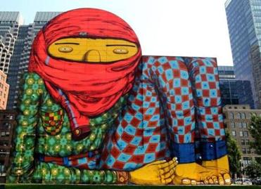 "Os Gêmeos's mural was popularly known as ""the kid."""